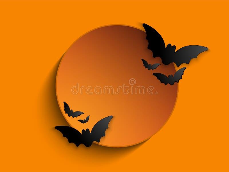 Счастливая предпосылка значка летучей мыши призрака хеллоуина иллюстрация штока