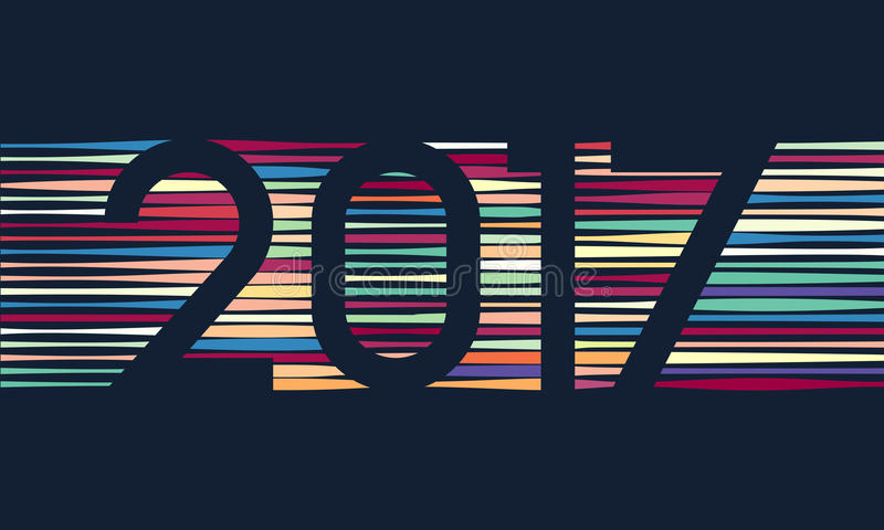 Счастливая предпосылка 2017 Нового Года Украшение календаря карточка 2007 приветствуя счастливое Новый Год Китайский шаблон кален иллюстрация штока