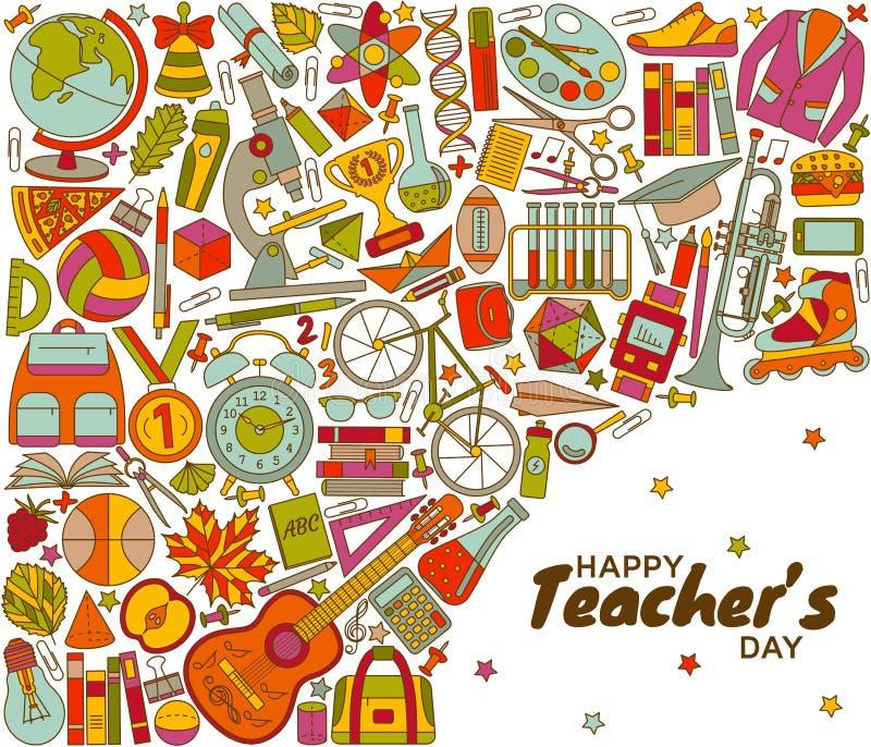 Счастливая предпосылка дня учителей бесплатная иллюстрация