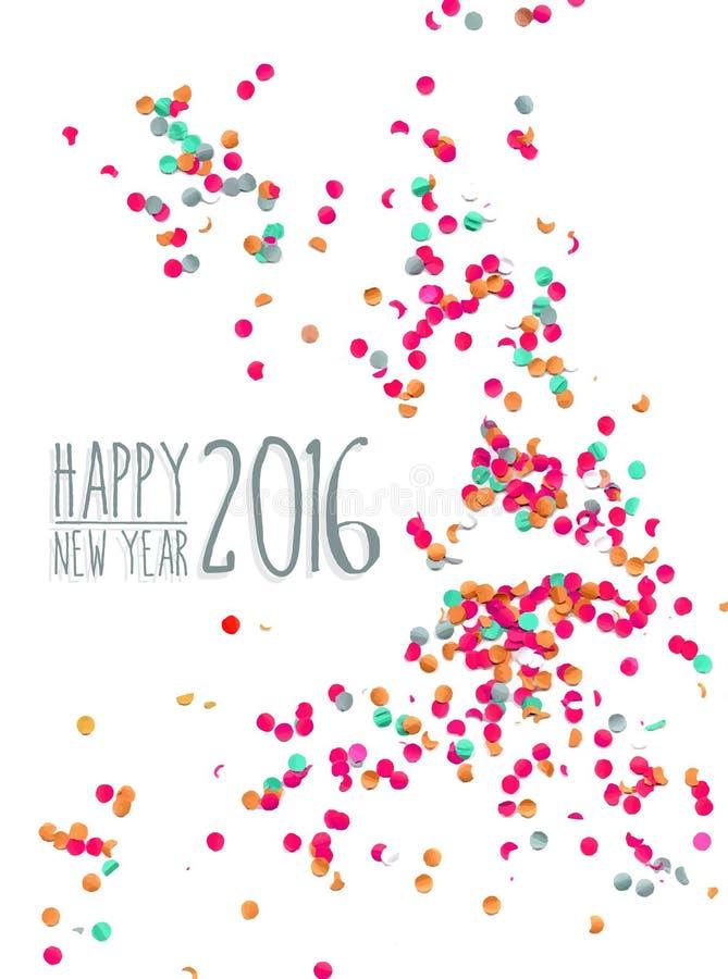 Счастливая предпосылка 2016 партии confetti Нового Года бесплатная иллюстрация