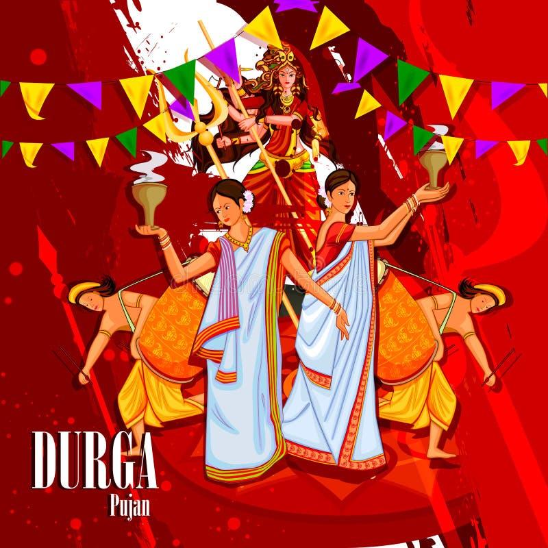Счастливая предпосылка праздника фестиваля Durga Puja Индии иллюстрация штока