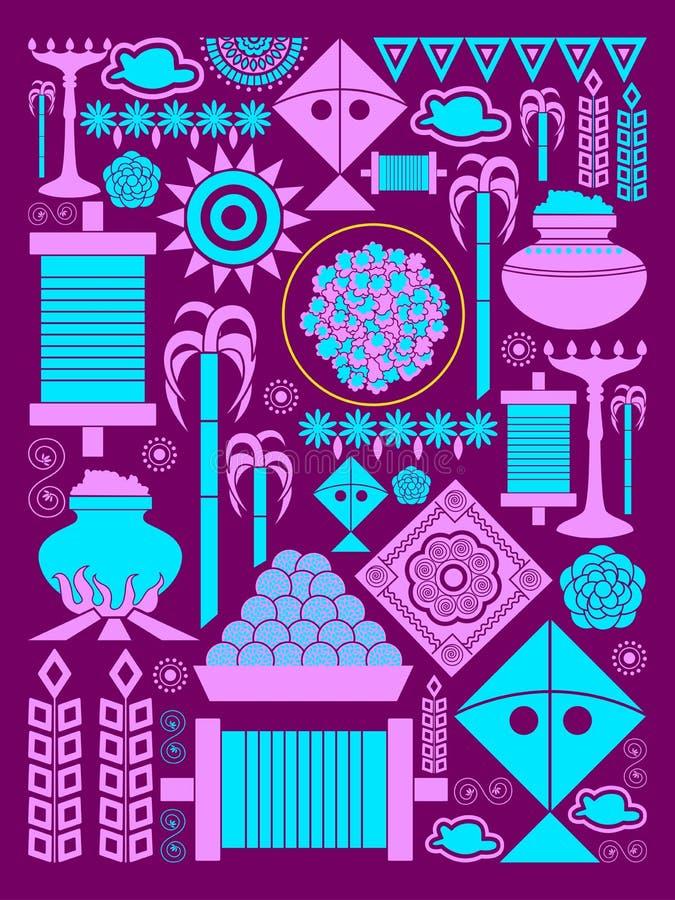 Счастливая предпосылка торжества фестиваля Makar Sankranti иллюстрация штока
