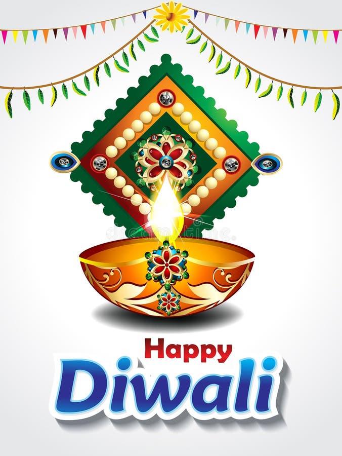 Счастливая предпосылка торжества diwali с лист манго иллюстрация штока