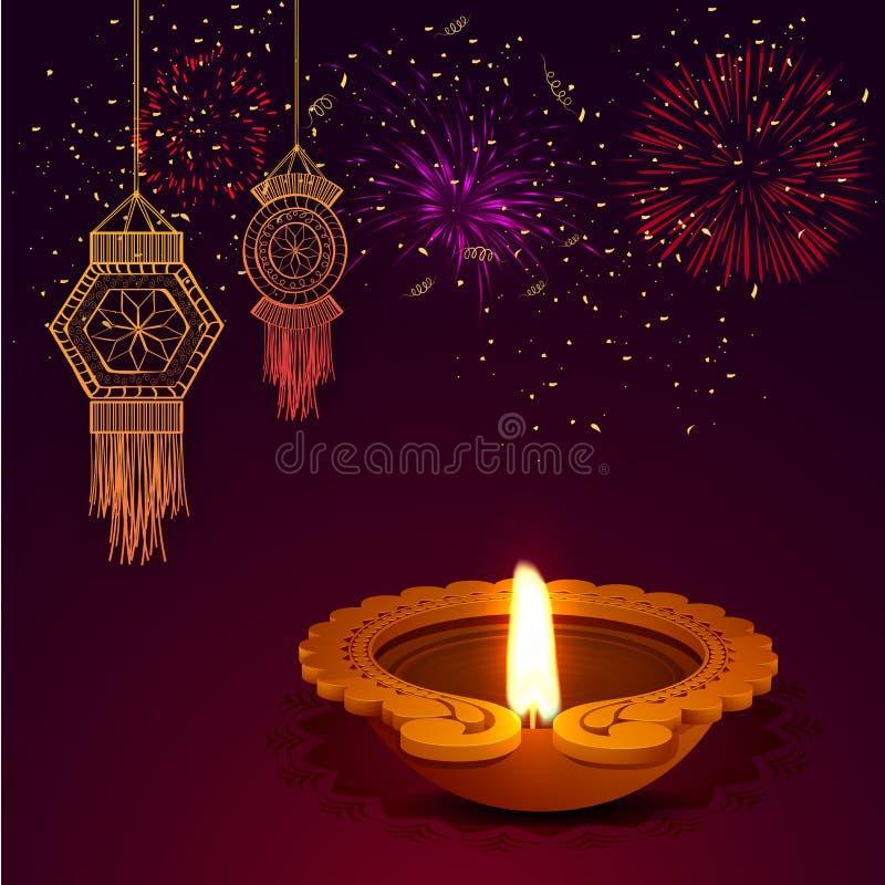 Счастливая предпосылка торжества Diwali с масляными лампами бесплатная иллюстрация