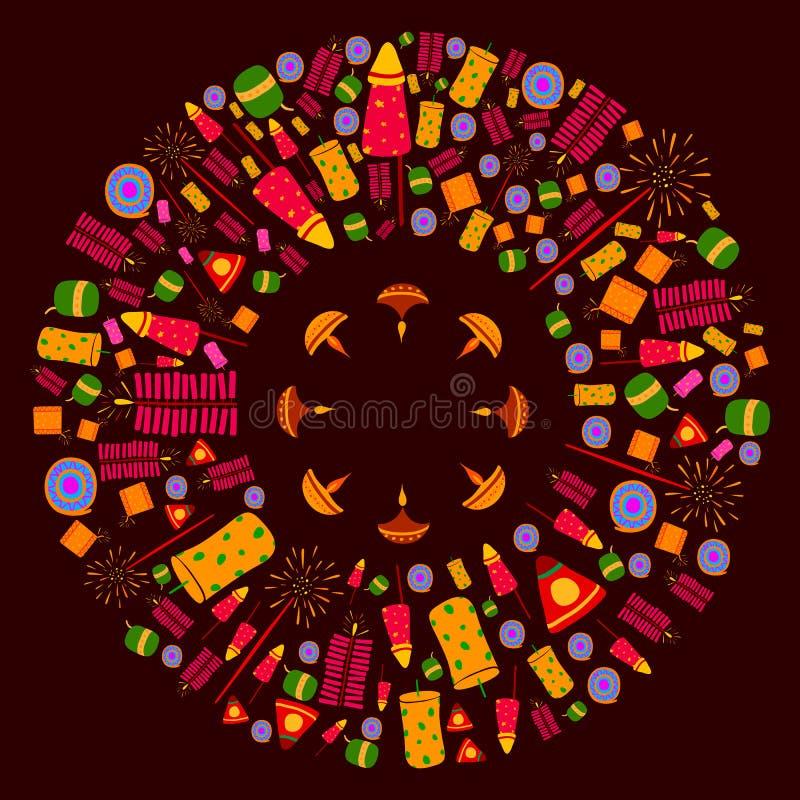 Счастливая предпосылка торжества Diwali иллюстрация штока