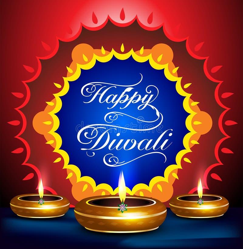 Счастливая предпосылка фестиваля diwali с deepak иллюстрация вектора