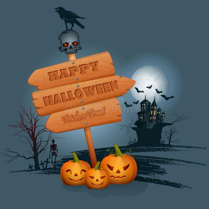 Счастливая предпосылка хеллоуина с деревянным подписывает внутри лунный свет иллюстрация вектора