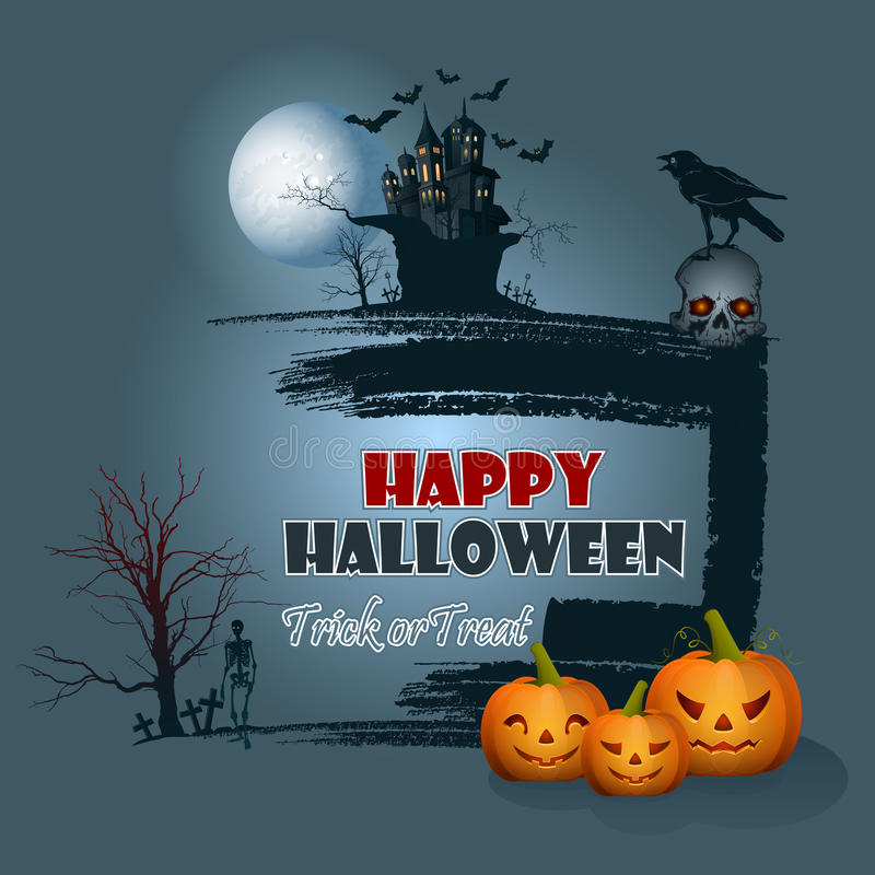Счастливая предпосылка хеллоуина с сценой лунного света бесплатная иллюстрация