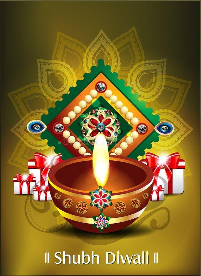 Счастливая предпосылка diwali с подарками иллюстрация вектора