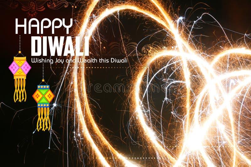 Счастливая предпосылка Diwali с diya и фейерверком стоковая фотография rf