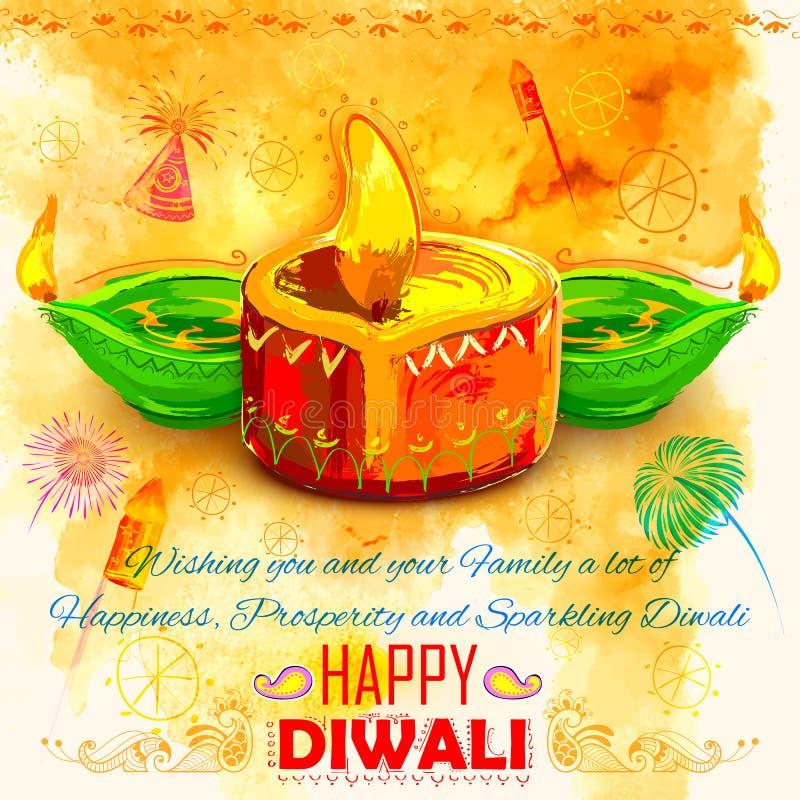 Счастливая предпосылка Diwali coloful с diya акварели иллюстрация штока