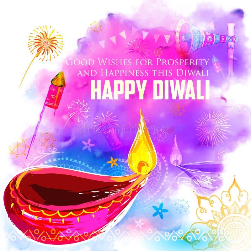 Счастливая предпосылка Diwali coloful с diya акварели бесплатная иллюстрация