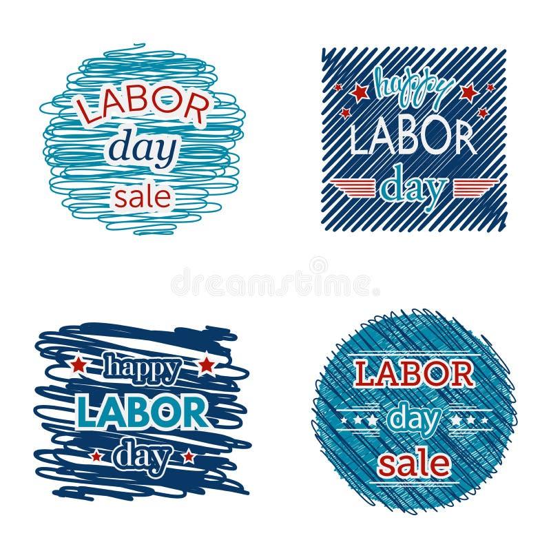 Счастливая продажа Дня Трудаа Комплект значков и ярлыков на предпосылке scribble иллюстрация штока