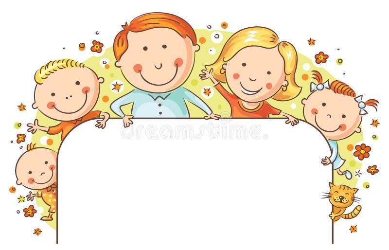 Счастливая рамка семьи иллюстрация вектора