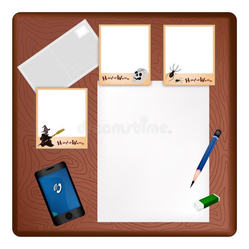 Счастливая рамка хеллоуина на пустой странице и конверте бесплатная иллюстрация