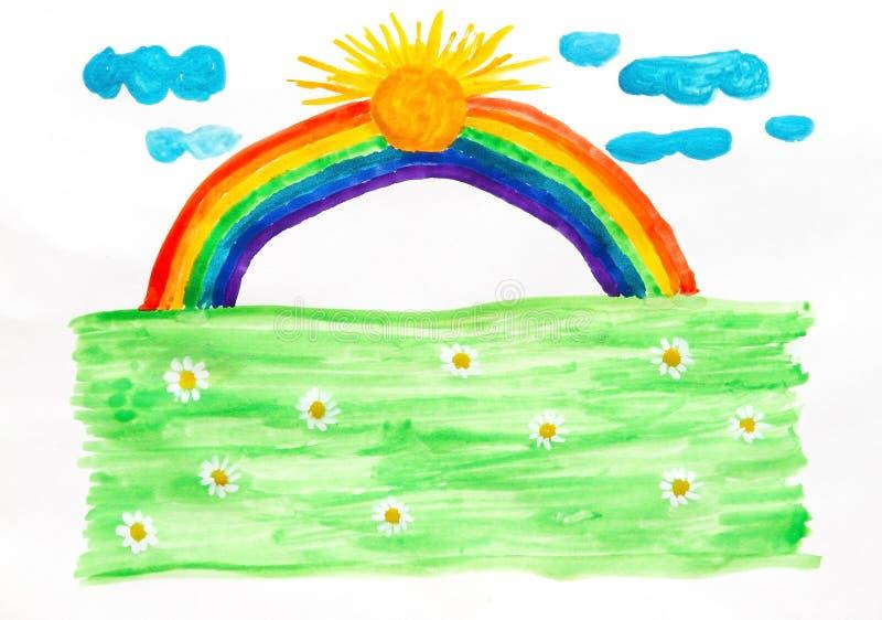 счастливая радуга иллюстрация штока