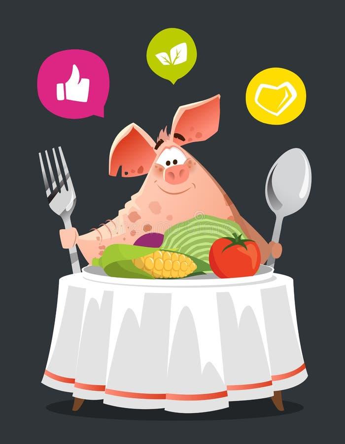 Счастливая свинья улыбки сидит на таблице иллюстрация вектора