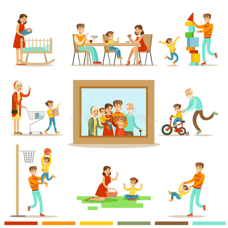 Счастливая семья делая изображение портрета семьи иллюстрации вещей совместно окружающее большое бесплатная иллюстрация