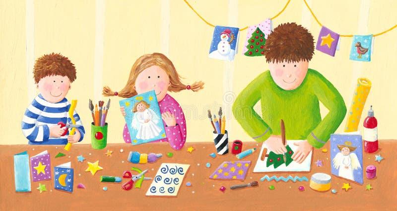 Счастливая семья делая открытки рождества иллюстрация вектора