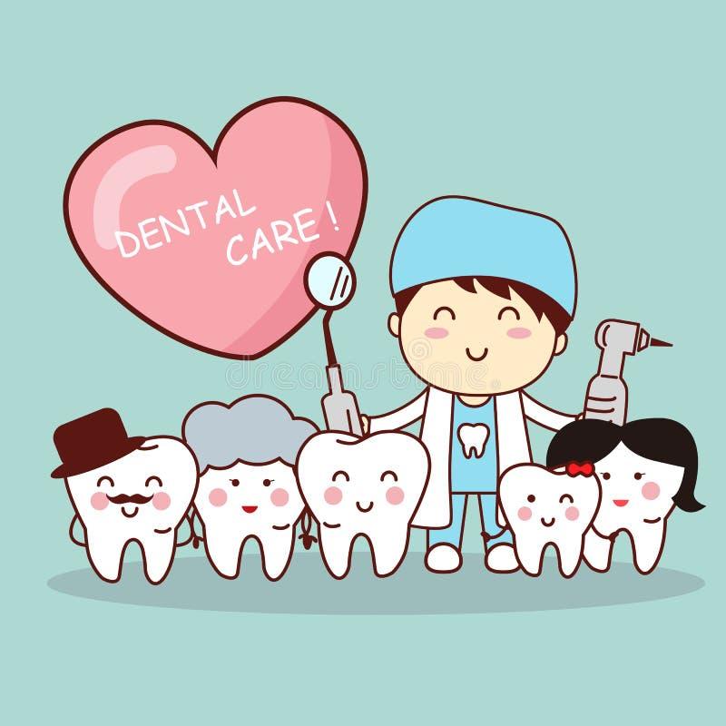 Счастливая семья зуба с дантистом бесплатная иллюстрация