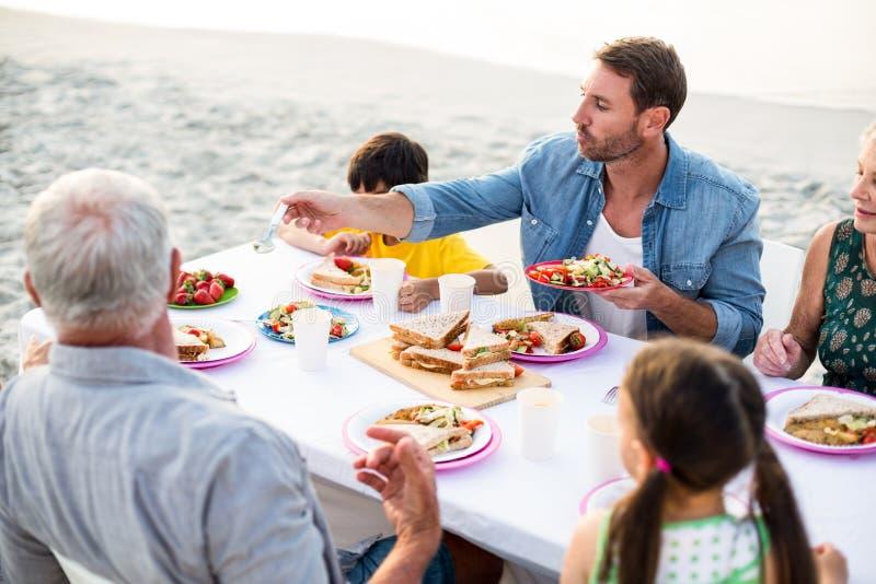 Счастливая семья имея пикник на пляже стоковое фото