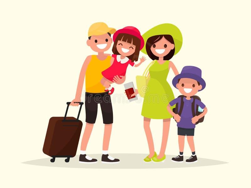 Счастливая семья идет на летние каникулы Вектор Illustratio бесплатная иллюстрация