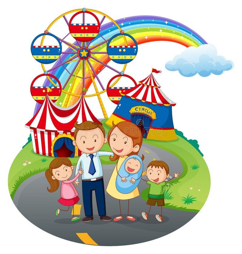 Счастливая семья идя к парку атракционов иллюстрация вектора