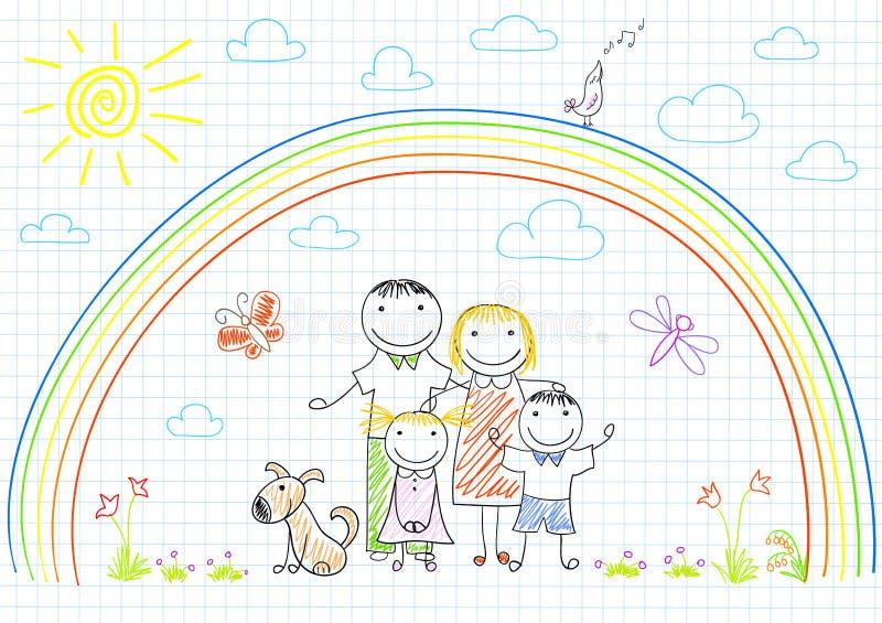 Счастливая семья - мама, папа и 2 дет бесплатная иллюстрация