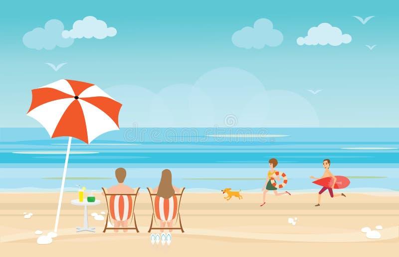 Счастливая семья наслаждаясь на пляже во время каникул иллюстрация штока