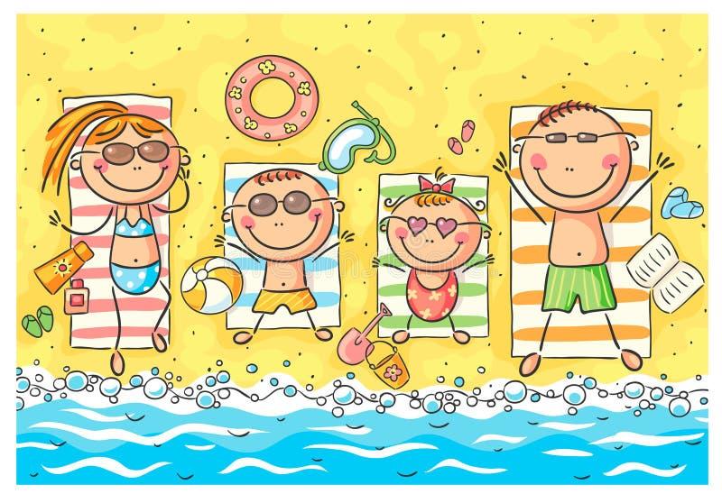 Счастливая семья на взморье иллюстрация вектора