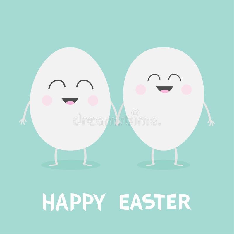 Счастливая семья пар пасхального яйца с усмехаясь стороной Руки милого персонажа из мультфильма набор держа Foreve друзей рта гла бесплатная иллюстрация
