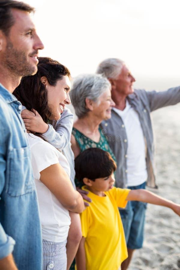 Счастливая семья представляя на пляже стоковое фото