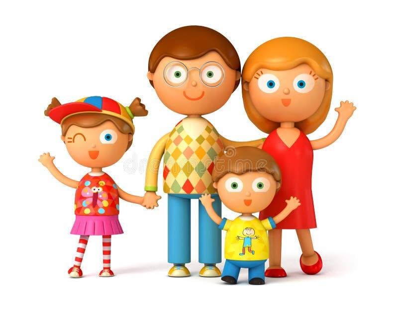 Счастливая семья, представляя совместно иллюстрация штока