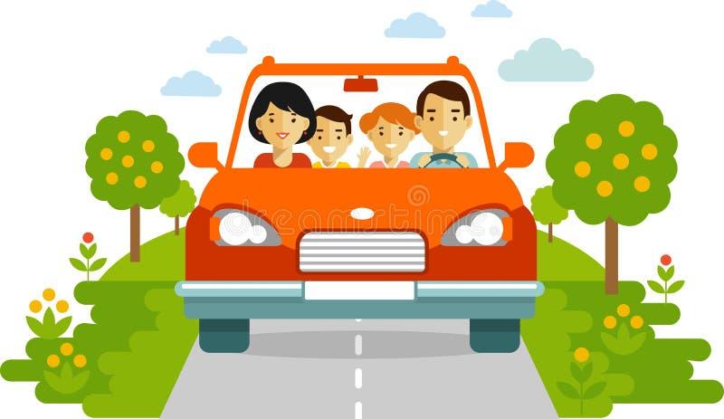 Счастливая семья путешествуя автомобилем на предпосылке природы иллюстрация вектора