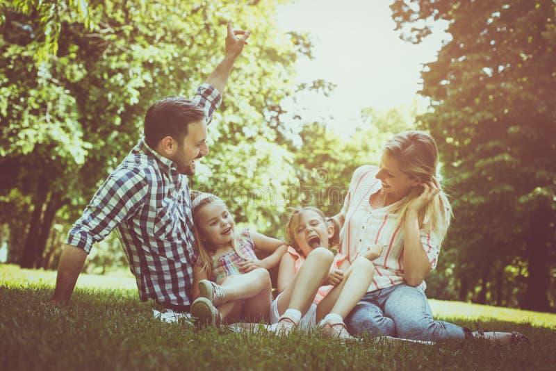 Счастливая семья сидя на траве в луге совместно и enjoyin стоковое фото rf