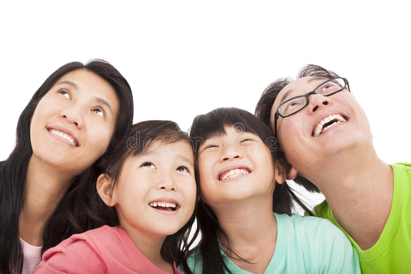 Download Счастливая семья смотря вверх Стоковое Фото - изображение насчитывающей смотреть, отец: 33736076