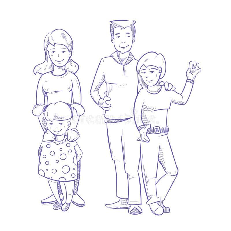 Счастливая семья с маленькими ребеятами вручает вычерченное, иллюстрация вектора doodle иллюстрация вектора