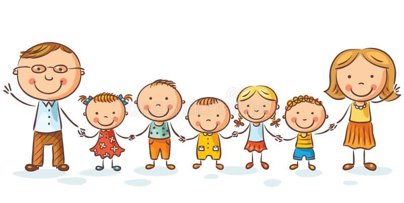 Счастливая семья с много детей бесплатная иллюстрация