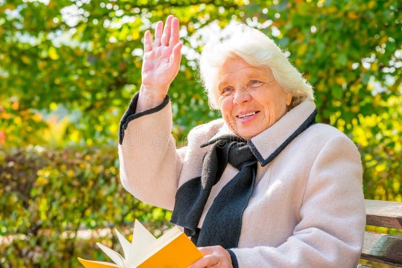 Счастливая седая женщина 80 лет стоковая фотография rf