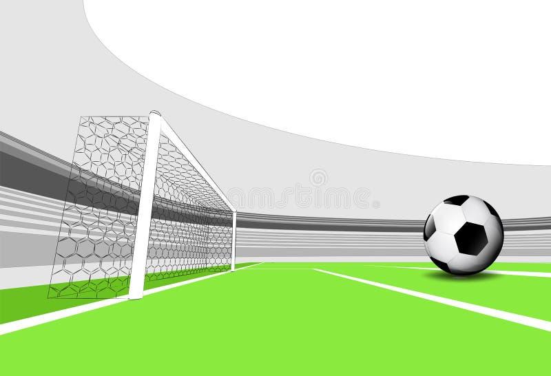 Счастливая сцена спортивной площадки футбола с пустым стадионом иллюстрация вектора