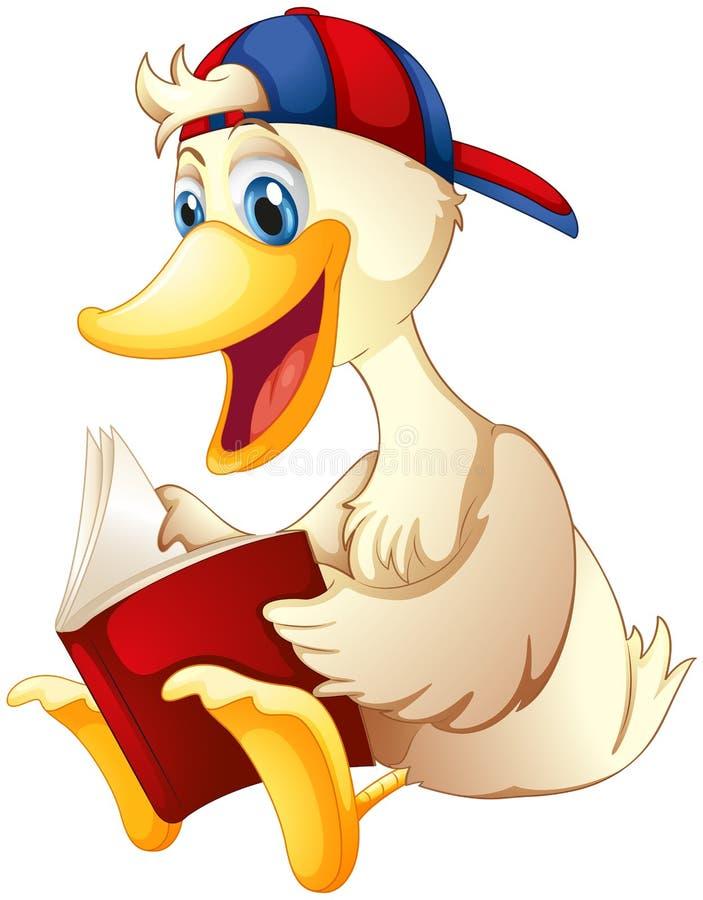 Счастливая утка читая книгу иллюстрация вектора