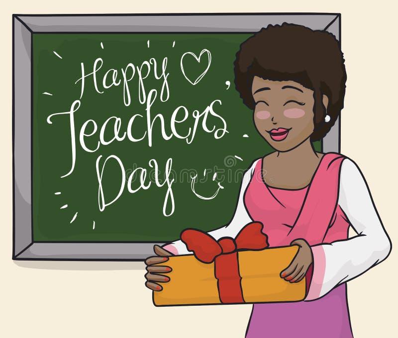 Счастливая учительница празднуя в классе с ее студентами, иллюстрации вектора иллюстрация штока