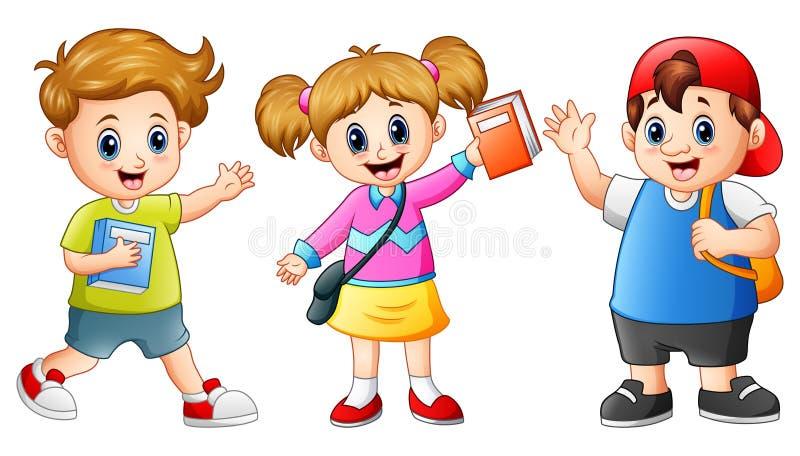 Счастливая школа ягнится шарж иллюстрация вектора