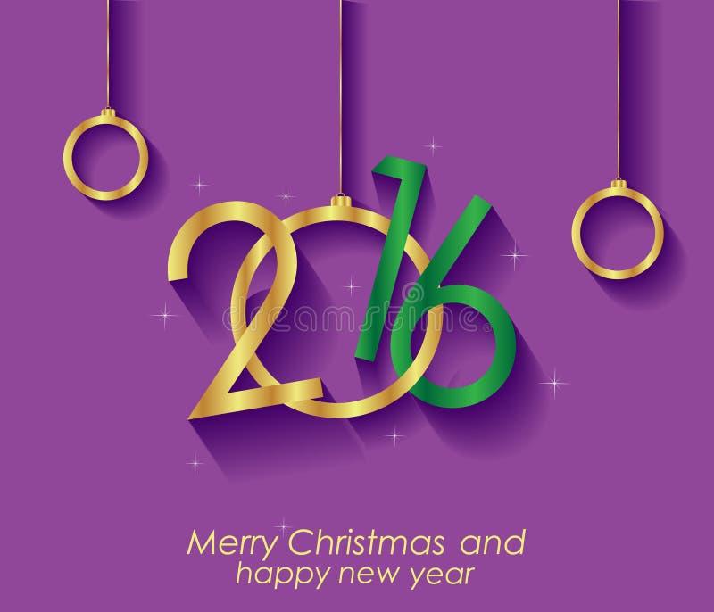 2016 счастливого рождеств и счастливой предпосылка Нового Года иллюстрация штока