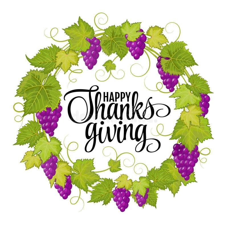 Счастливое благодарение с листьями приветствию и осени текста вектор экрана иллюстрации 10 eps иллюстрация штока