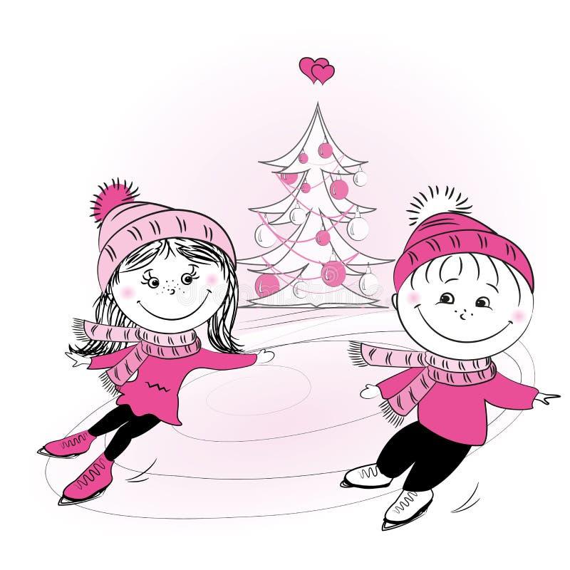 Счастливое дерево кататься на коньках и xmas семьи бесплатная иллюстрация