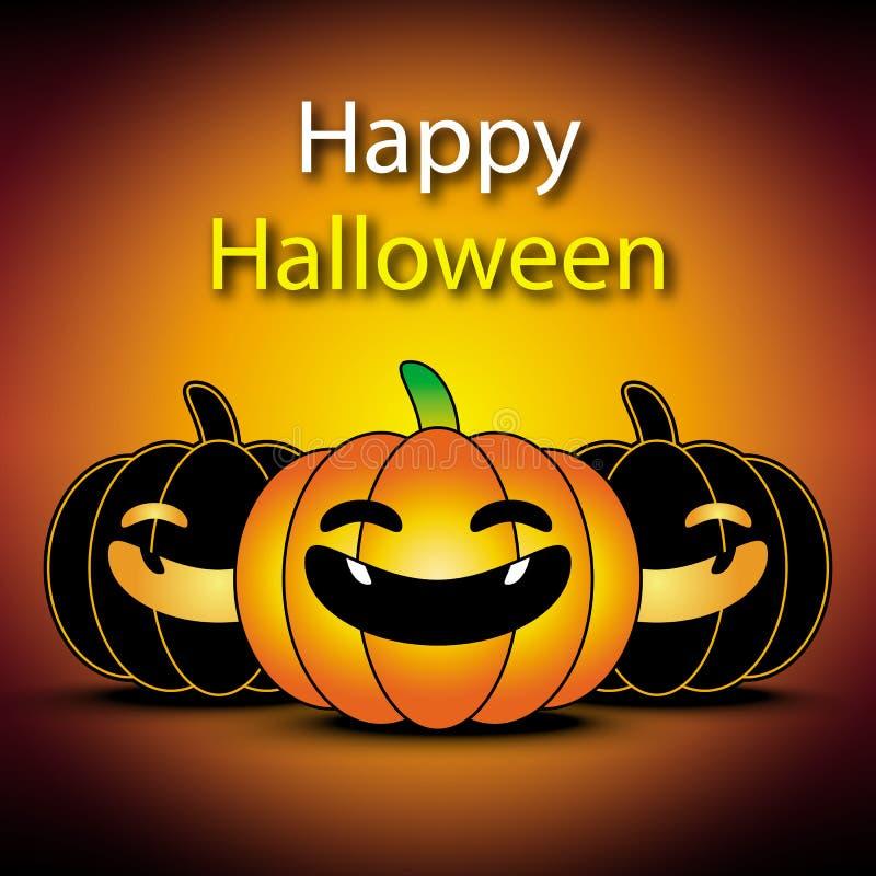 Счастливое знамя хеллоуина с предпосылкой апельсина тыквы иллюстрация штока