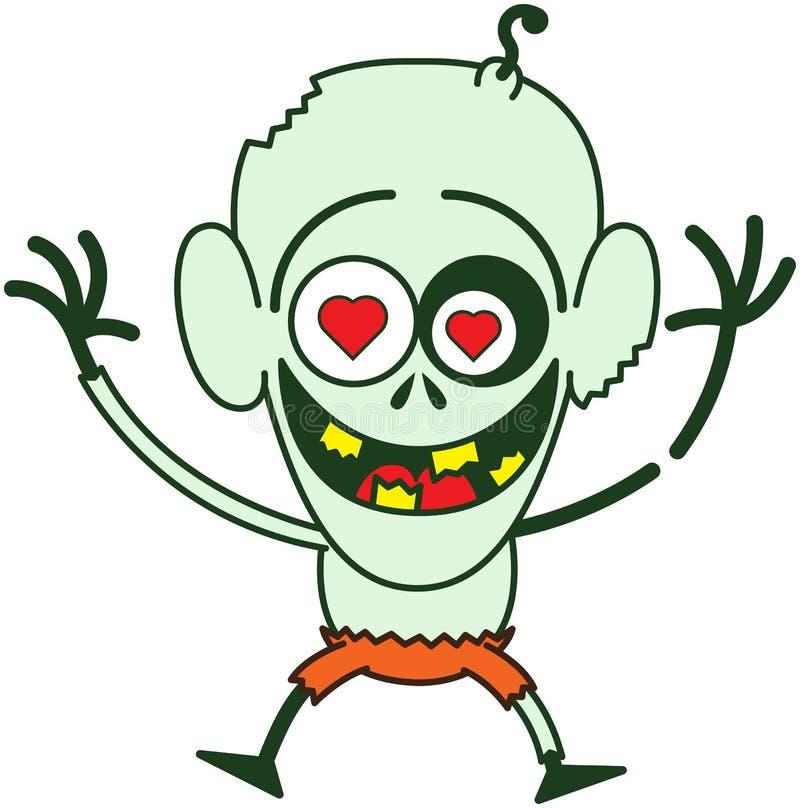Счастливое зомби хеллоуина чувствуя сумашедше в влюбленности бесплатная иллюстрация