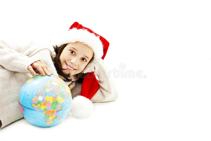 Счастливое маленькое Санта с глобусом стоковая фотография