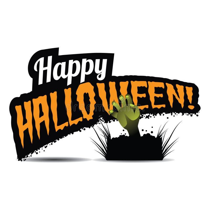 Счастливое название хеллоуина с рукой зомби иллюстрация штока
